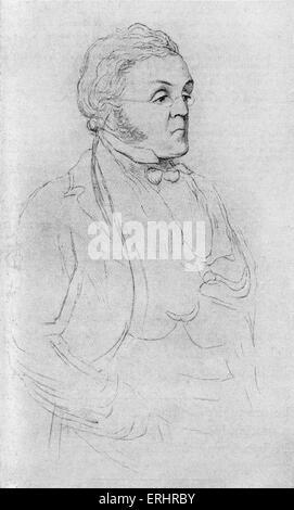 William Makepeace Thackeray - drawing by Richard Doyle (1824-1883). English novelist, 18 July 1811 - 24 December - Stock Photo
