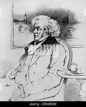 William Makepeace Thackeray - Posthumous portrait. Painting by John Gilbert. WMT  English novelist, 18 July 1811 - Stock Photo