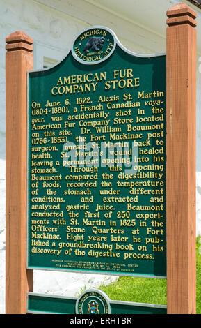 Michigan, Mackinac Island, Market Street, American Fur Co. Store & Dr. Beaumont Museum information sign - Stock Photo