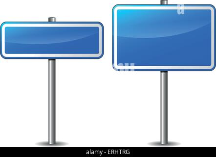 Vector illustration of blue rectangular road signs on white background - Stock Photo