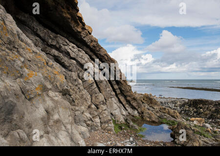 Carboniferous Rocks at Saltpan Rocks, Scremerston, Berwick Upon Tweed, Northumberland, England - Stock Photo