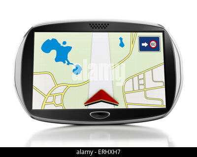 Navigation device isolated on white background. - Stock Photo