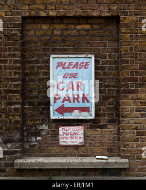 Old weathered car park sign in Leigh-On Sea Essex England United Kingdom Europe - Stock Photo