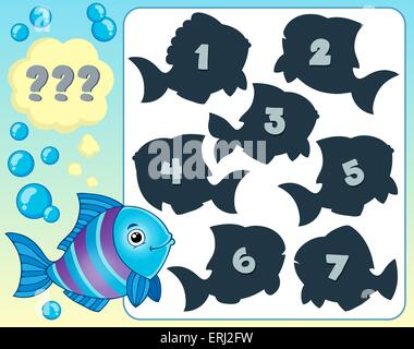 Fish riddle theme image 1 - picture illustration. - Stock Photo