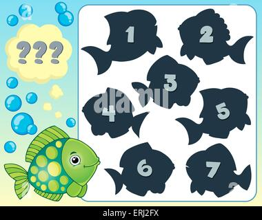 Fish riddle theme image 2 - picture illustration. - Stock Photo