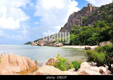 Anse and Bay of Source à Jean,  Beach on Island La Digue, Seychelles - Stock Photo