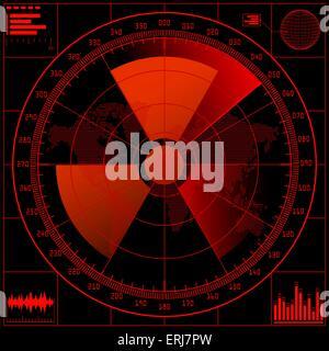 Radar screen  with radioactive sign. - Stock Photo