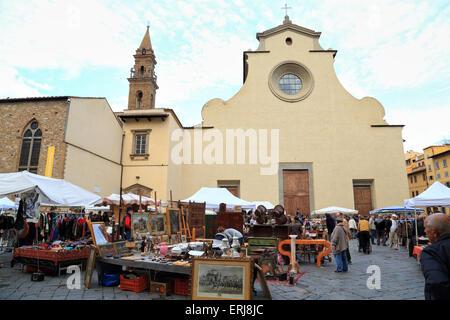 Florence antique street market,  Santo Spirito Flea Market, Mercatino Antiquario Fiorentino, Basilica di Santo Spirito, - Stock Photo