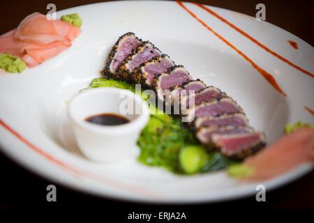 Sesame Crusted Ahi Tuna - Stock Photo