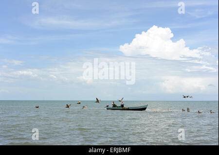 Caribbean coast of Livingston, Isabal department in Guatemala. - Stock Photo