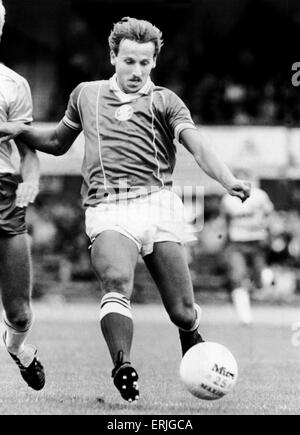 Birmingham City footballer Robert Hopkins in action. September 1983. - Stock Photo