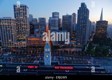 Aerial view over San Francisco Ferry Building on the Embarcadero at sunset - Stock Photo