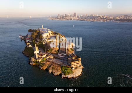 Aerial view over San Francisco at sunset  Aerial view over San Francisco and Alcatraz Island at sunset - Stock Photo
