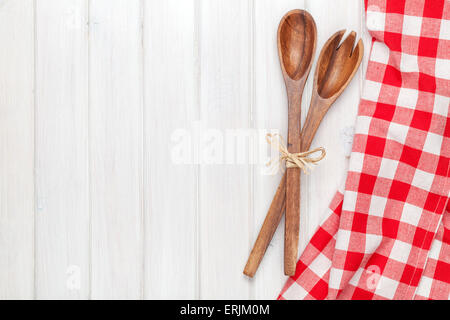 Kitchen Utensils Background kitchen utensils over white wooden table background. view from