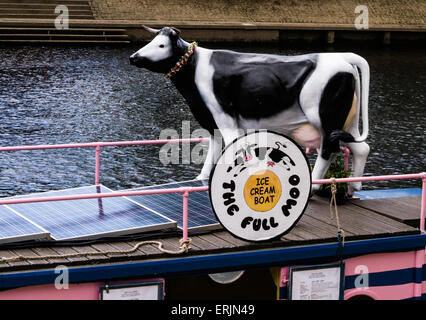 The Full Moo, ice cream boat on the River Ouse alongside York's Museum Gardens, City of York, England, UK - Stock Photo