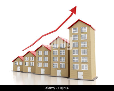 Rising housing market concept with multi-floor buildings. - Stock Photo