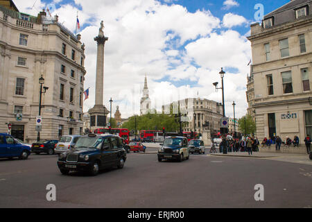 Trafalgar Square viewed from the Spring Gardens. London, United Kingdom. - Stock Photo