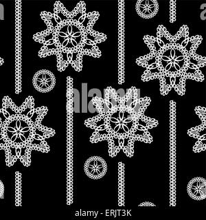 seamless monochrome background with white lace floral pattern on a black background - Stock Photo