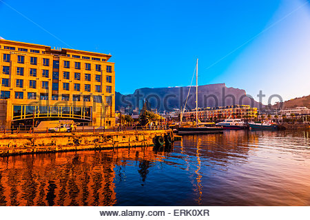 V&A Waterfront with Cape Grace Hotel and Table Mountain behind, Cape Town, South Africa. - Stock Photo