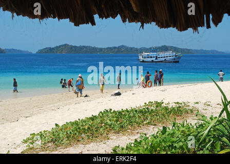 beach at jolly buoy andaman island india - Stock Photo