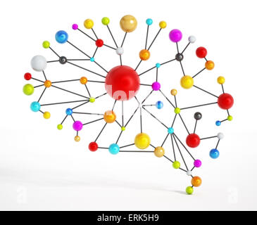 Brain network with colorful connected dots. - Stock Photo