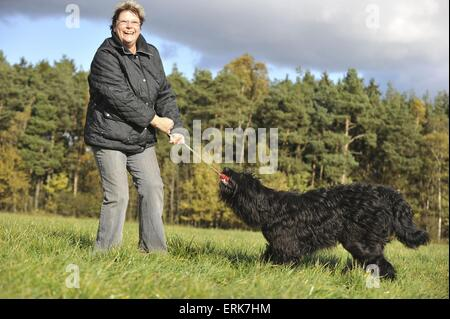 woman plays with Sheeppoodle - Stock Photo