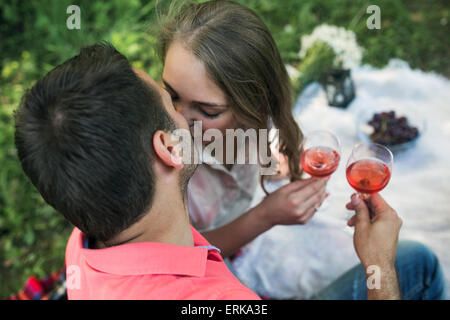 Couple on a picnik - Stock Photo