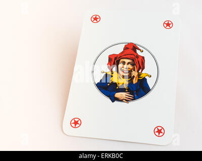 Joker playing cards on white background - Stock Photo