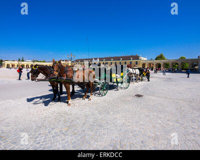 Horse-drawn carriage in front of Schönbrunn Palace, Vienna, Austria - Stock Photo