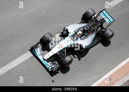 Mercedes racing car with Lewis Hamilton, Formula 1 Grand Prix Monaco 2015, Principality of Monaco - Stock Photo