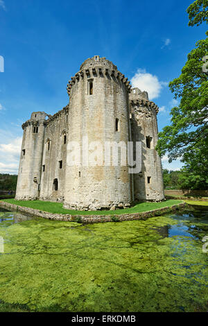 Nunney Castle built in the 1370s by Sir John de la Mere, Somerset, England, United Kingdom - Stock Photo
