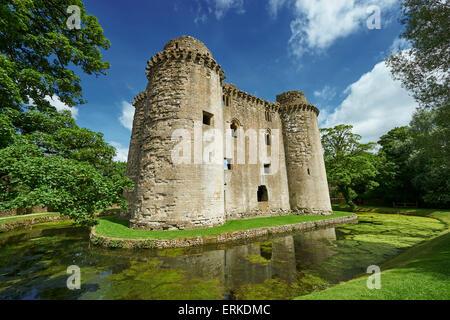 Nunney Castle built in the 1370s by Sir John de la Mere, Somerset, England, United Kingdom - Stock Photo