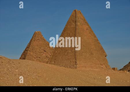 Meroitic pyramids of the northern group at Gebel Barkal, Karima, Northern State, Nubia, Sudan - Stock Photo