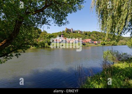 Rothenfels Castle, Rothenfels, Main, Spessart, Mainfranken, Lower Franconia, Franconia, Bavaria, Germany - Stock Photo