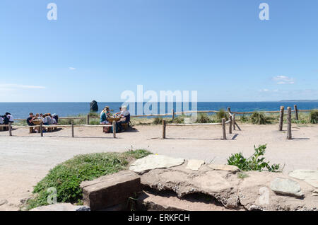 Outdoor seating at the Beach House Cafe at South Milton Sands, Thurlestone, South Hams, Devon - Stock Photo
