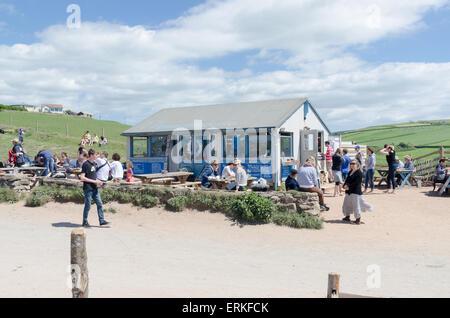 The Beachhouse Cafe at South Milton Sands, Thurlestone, South Hams, Devon - Stock Photo