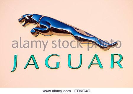 Jaguar car dealership sign, UK. - Stock Photo