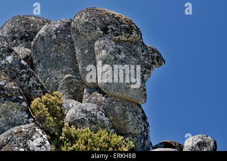 Portugal: Granitic stone formation 'Cabeça do Velho' ((Head of the Old Man) in the mountain region Serra da Estrela - Stock Photo