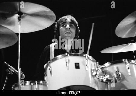 The Who rock group in concert at the Empire Pool, Wembley. Pictured is drummer Keith Moon. October 1975. - Stock Photo