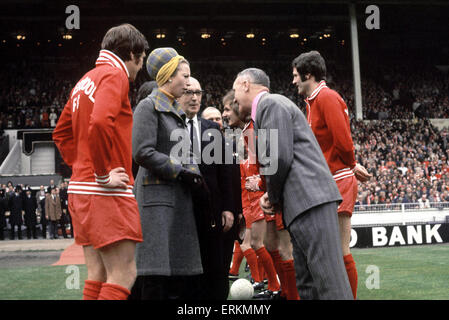 Liverpool manager Bill Shankly  shakes hands with Princess Anne at Wembley Stadium before the start of the 1974 - Stock Photo