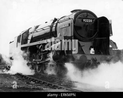 British Railways Standard Class 9F number 92220 Evening Star, the last British rail steam locomotive to be built - Stock Photo