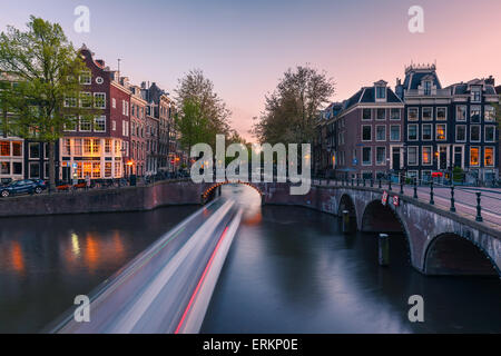 An evening at the canals near the Keizersgracht at Amsterdam, the Netherlands. - Stock Photo