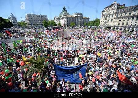Munich, Germany. 04th June, 2015. Demonstrators at a demonstration against the G7 Summit on Karlsplatz square in - Stock Photo