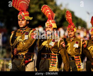 Wagha Border Ceremony, Attari, Punjab Province, India, Asia - Stock Photo
