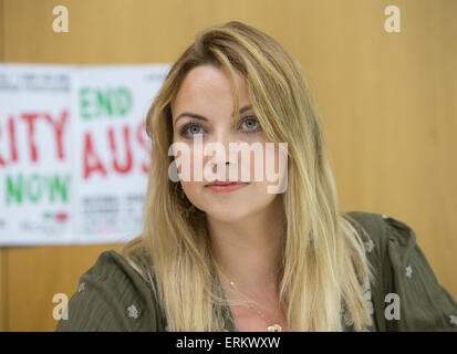 Welsh singer Charlotte Church gives a press conference ahead of the anti austerity March on June 20th - Stock Photo