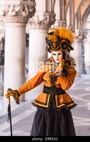 People in masks and costumes, Carnival, Venice, Veneto, Italy, Europe - Stock Photo
