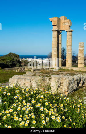 Temple of Apollo at the Acropolis, Rhodes, Dodecanese, Greek Islands, Greece, Europe - Stock Photo