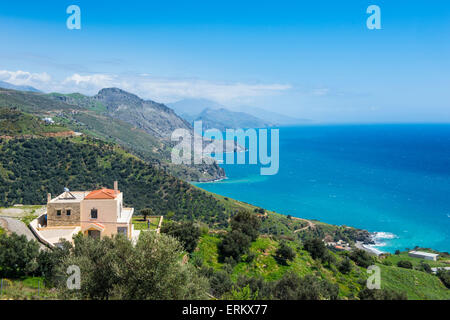 View over the south coast of Crete, Greek Islands, Greece, Europe - Stock Photo