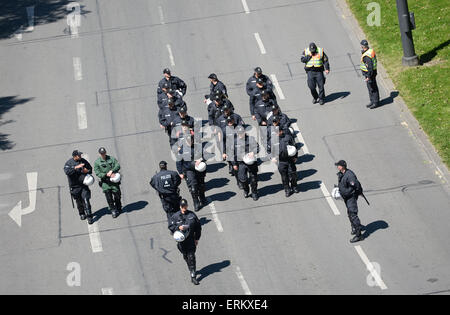Munich, Germany. 04th June, 2015. Police officers secure a protest against the G7 Summit in Munich, Germany, 04 - Stock Photo