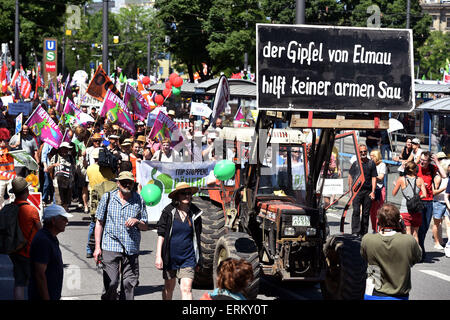 Munich, Germany. 04th June, 2015. Demonstrators participate in a protest against the G7 Summit in Munich, Germany, - Stock Photo